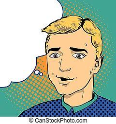 Man in comics retro pop art style. Vector illustration