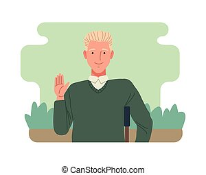 man in crutch perfectly imperfect character vector illustration design