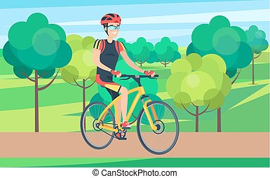 Man in Cycling Clothing on Bicycle Illustration