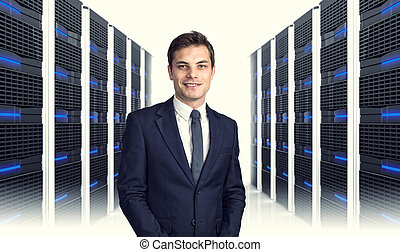 man in datacenter - 3d image of datacentre with lots of...