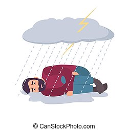Man in depression concept. Sad and depressed guy under storm cloud and rain.