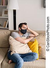 Man in depression during quarantine