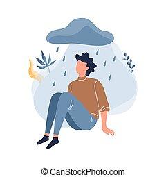 Man in depression. Unhappy person, bad emotion