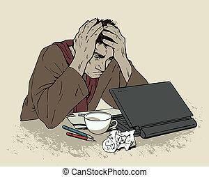 Man in despair sitting at a computer. Headache