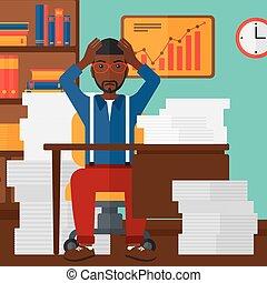 Man in despair sitting in office. - An african-american man...