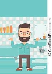 Man in despair standing near leaking sink. - A hipster man...