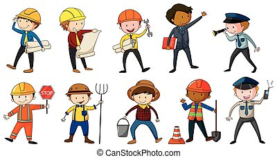 Man in different costume of occupations