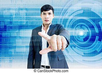 man, in, digitale wereld, 3d