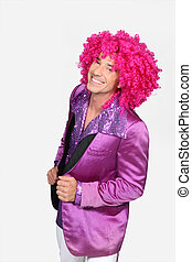 man in disco costume