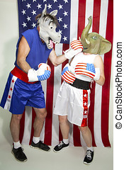 Man in donkey mask (Democrat) punching woman in elephant mask (Republican) in front of an american flag