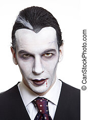 Man in dracula fancy dress costume