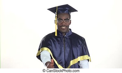 Man in dressed for graduation. White. Slow motion. Close up
