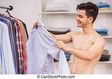 Man in dressing room