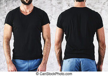 Man in empty black t-shirt