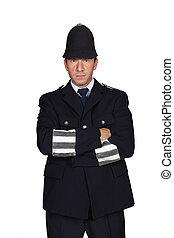 man in English policeman costume