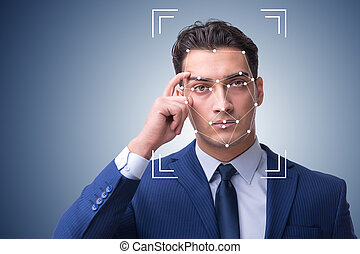 Man in face recognition concept