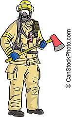 man in firefighter uniform vector illustration sketch hand drawn with black lines isolated on white background