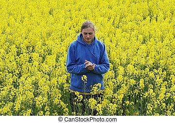 Man in flower meadow