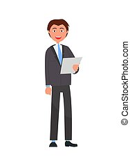 Man in Formal Wear with List of Paper, Businessman - Man in...