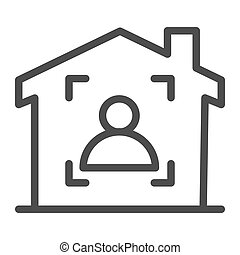 Man in frame inside house line icon, smart home symbol, guest identity system vector sign on white background, person recognition process icon in outline style mobile and web. Vector graphics.