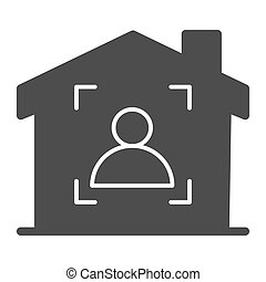 Man in frame inside house solid icon, smart home symbol, guest identity system vector sign on white background, person recognition process icon in glyph style mobile and web. Vector graphics.