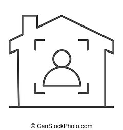 Man in frame inside house thin line icon, smart home symbol, guest identity system vector sign on white background, person recognition process icon in outline style mobile and web. Vector graphics.