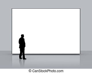man in front of a big white screen