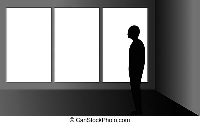 Man in front of a blank triptych