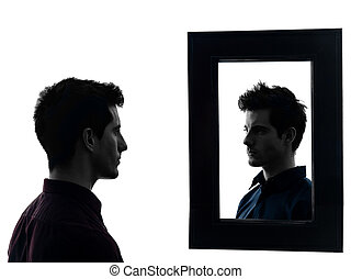 man in front of his mirror silhouette - man in front of his ...