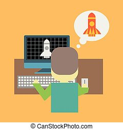 Man in front of pc with a rocket taking off. Startup or modeling concept