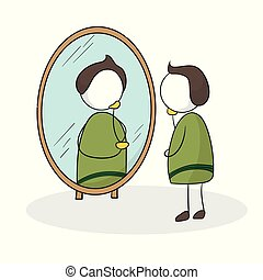 Man in front of the mirror. Looking himself in the mirror. Man checking his appearance in the mirror