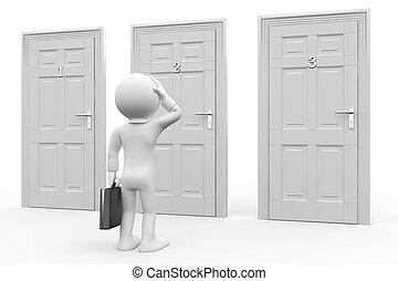 Man in front of three doors, doubtful