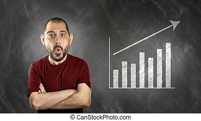 man in front of wallboard with statistics