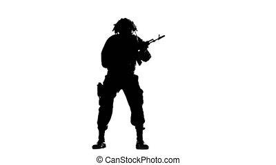 Man in full readiness. Silhouette - Man in full readiness, a...