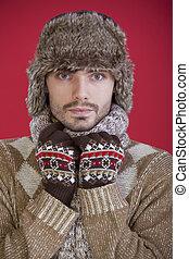 19f0b18d263 Hunter winter fur hat man portrait holding gun.