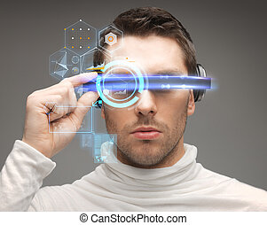 man in futuristic glasses - future, technology and people...
