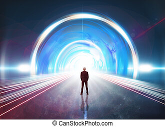 Man in futuristic tunnel