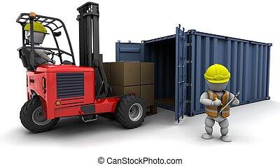 man, in, gaffeltruck transportera, ladda, a, behållare