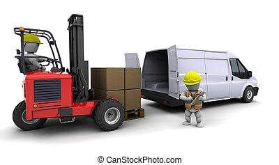 man, in, gaffeltruck transportera, ladda, a, skåpbil