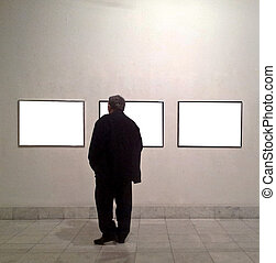Man in gallery room