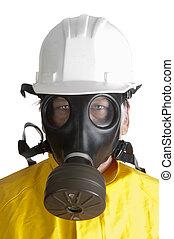 Man in gasmask on white