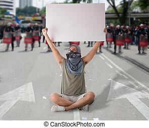 man, in, gata, protestera