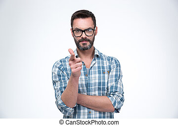 Man in glasses showing gun gesture with fingers