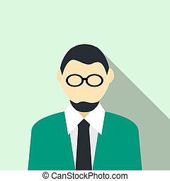 Man in glasses with a beard in a green suit icon - icon in...