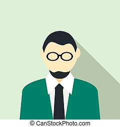 Man in glasses with a beard in a green suit icon