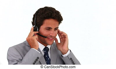 Man in gray suit having a phone call