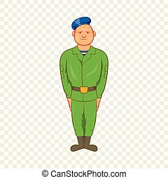 Man in green army uniform and blue beret icon