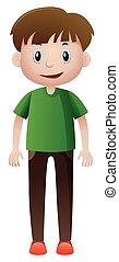 Man in green shirt smiling illustration