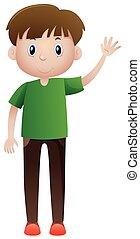 Man in green shirt waving illustration