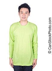 man, in, groene, lange mouw, t-shirt, vrijstaand, op, een, witte achtergrond